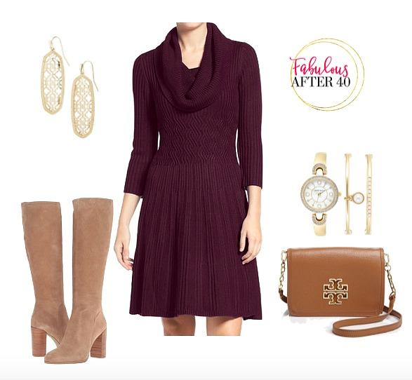purple-royal-dress-tan-shoe-boots-sweater-watch-earrings-cognac-bag-cowlneck-howtowear-fashion-style-outfit-fall-winter-dinner.jpg