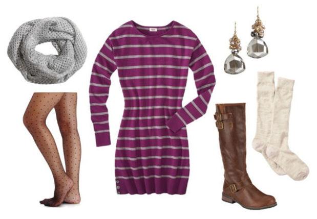 purple-royal-dress-zprint-stripe-grayl-scarf-brown-shoe-boots-black-tights-sweater-fall-winter-socks-earrings-jewel-weekend.jpg