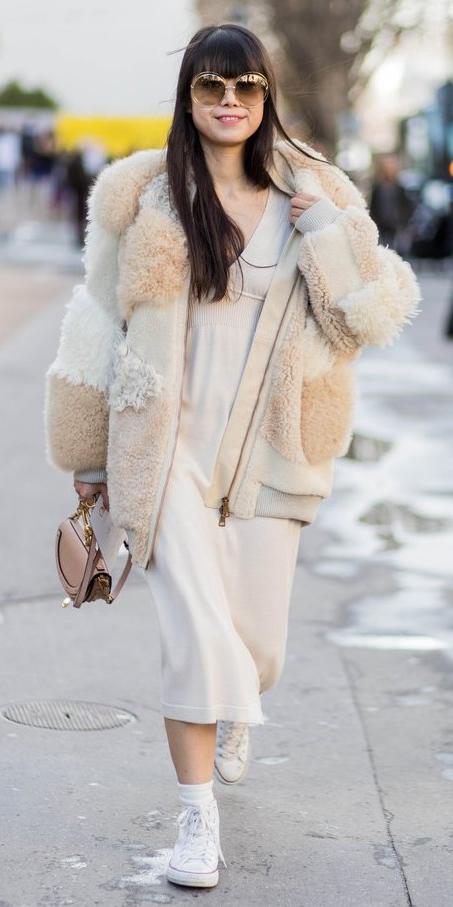 white-dress-sweater-white-shoe-sneakers-sun-brun-tan-jacket-coat-fur-tan-bag-fall-winter-weekend.jpg