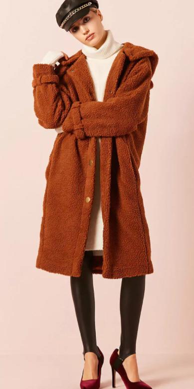 white-dress-sweater-newsboy-hat-burgundy-shoe-pumps-black-leggings-stirrup-camel-jacket-coat-fur-fuzz-fall-winter-blonde-lunch.jpg