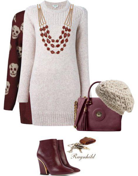 white-dress-sweater-burgundy-shoe-booties-burgundy-bag-beanie-necklace-fall-winter-lunch.jpg