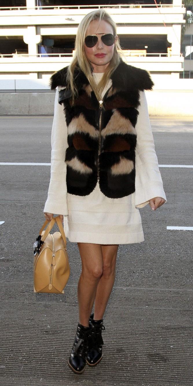 white-dress-sweater-peasant-brown-vest-fur-blonde-sun-tan-bag-black-shoe-booties-katebosworth-fall-winter-lunch.jpg