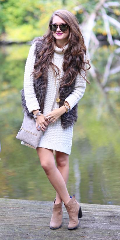 white-dress-sweater-brown-vest-fur-hairr-sun-tan-bag-tan-shoe-booties-fall-winter-weekend.jpg