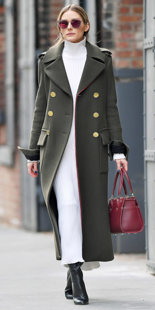 white-dress-maxi-sweater-sun-burgundy-bag-black-shoe-booties-military-trend-oliviapalermo-green-olive-jacket-coat-fall-winter-hairr-lunch.jpg