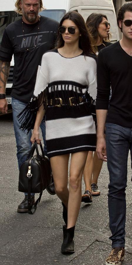 white-dress-sweater-stripe-fringe-belt-sun-black-shoe-booties-black-bag-kendalljenner-fall-winter-brun-lunch.jpg