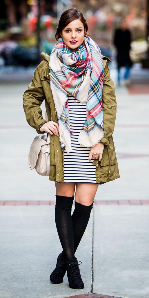 white-dress-sweater-stripe-white-scarf-plaid-white-bag-green-olive-jacket-parka-layer-bun-socks-black-shoe-booties-fall-winter-hairr-lunch.jpg