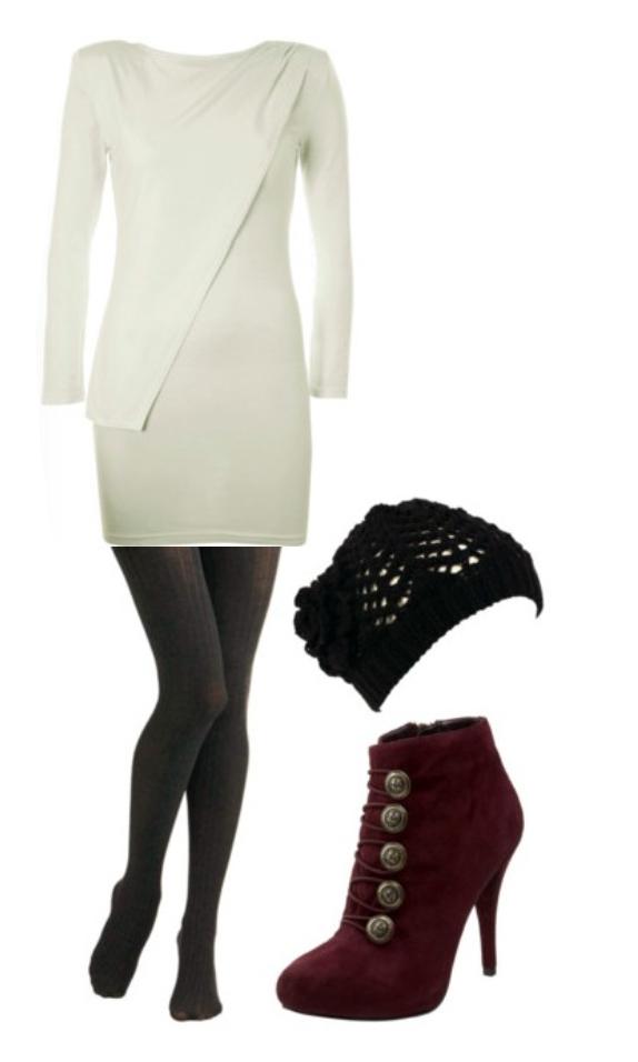 white-dress-burgundy-shoe-booties-beanie-black-tights-sweater-wear-style-fashion-fall-winter-dinner.jpg