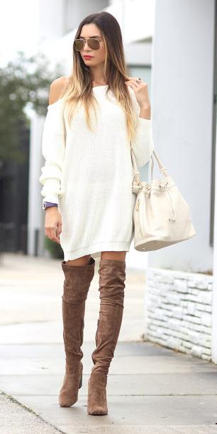 white-dress-sweater-white-bag-sun-hairr-tan-shoe-boots-otk-fall-winter-lunch.JPG