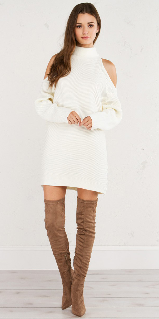 white-dress-sweater-turtleneck-cutout-cognac-shoe-boots-otk-fall-winter-hairr-lunch.jpg