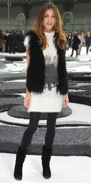 white-dress-sweater-black-vest-fur-hairr-black-tights-black-shoe-boots-fall-winter-dinner.jpg