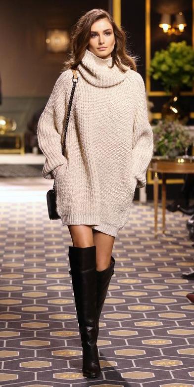 white-dress-brown-shoe-boots-sweater-wear-style-fashion-fall-winter-runway-slouchy-turtleneck-hairr-lunch.jpg