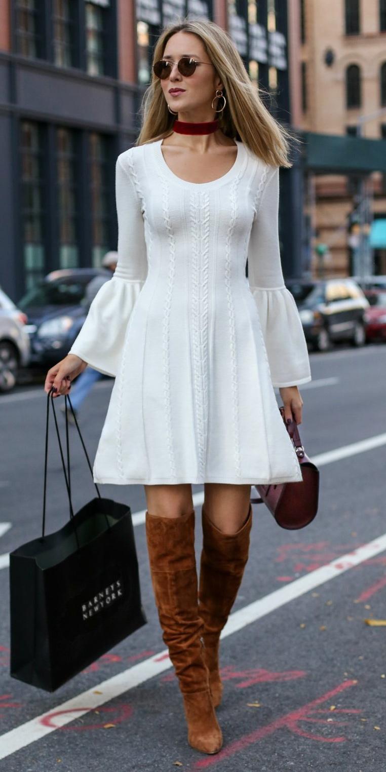 white-dress-sweater-aline-choker-sun-blonde-cognac-shoe-boots-hoops-fall-winter-lunch.jpg