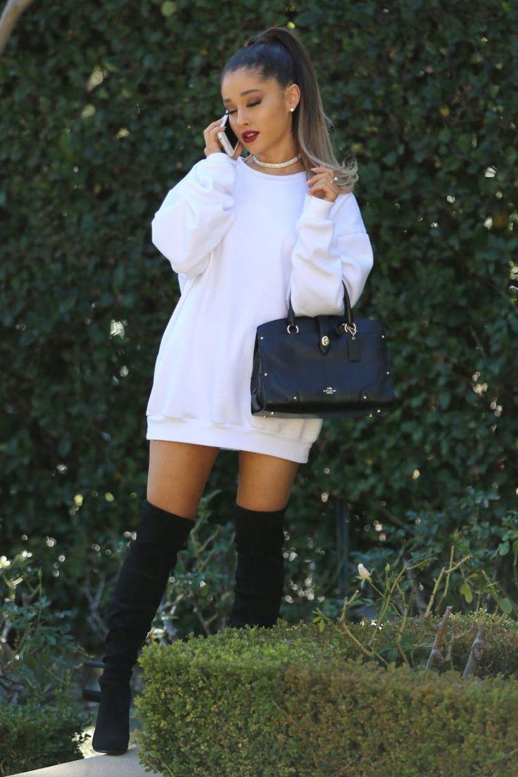 white-dress-sweater-choker-black-bag-arianagrande-pony-black-shoe-boots-otk-fall-winter-lunch.jpg