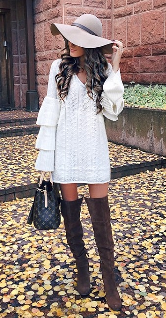 white-dress-sweater-brown-shoe-boots-otk-hat-hairr-bell-sleeve-fall-winter-thanksgiving-outfits-holidays-lunch.jpg