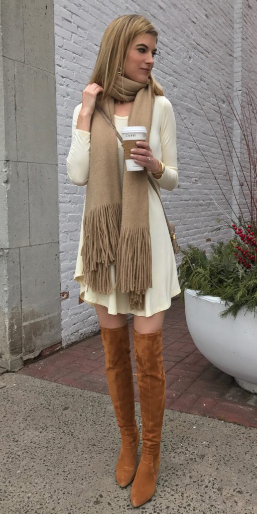 white-dress-tshirt-sweater-tan-scarf-tan-bag-tonal-cognac-shoe-boots-otk-fall-winter-blonde-lunch.jpeg
