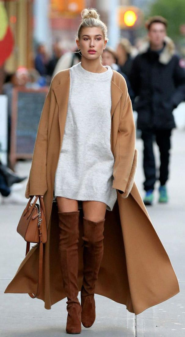 white-dress-sweater-bun-haileybaldwin-cognac-shoe-boots-otk-cognac-bag-camel-jacket-coat-fall-winter-blonde-lunch.jpg