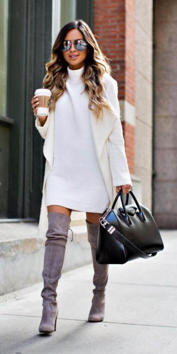 white-dress-sweater-white-jacket-coatigan-gray-shoe-boots-black-bag-sun-fall-winter-hairr-work.jpg
