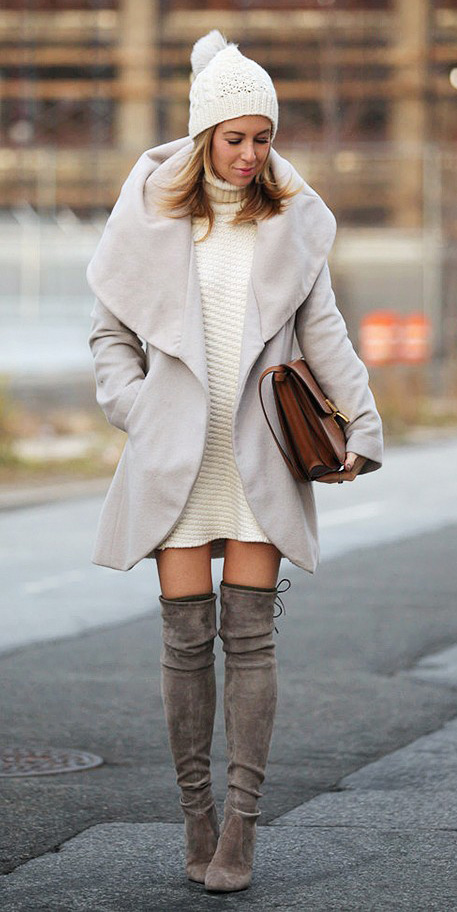 white-dress-sweater-gray-shoe-boots-otk-cognac-bag-turtleneck-white-jacket-coat-beanie-fall-winter-blonde-lunch.jpg