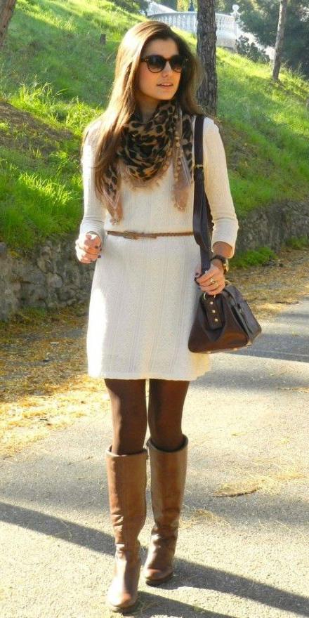 white-dress-sweater-belt-tan-scarf-leopard-print-brown-tights-cognac-shoe-boots-fall-winter-hairr-lunch.jpg