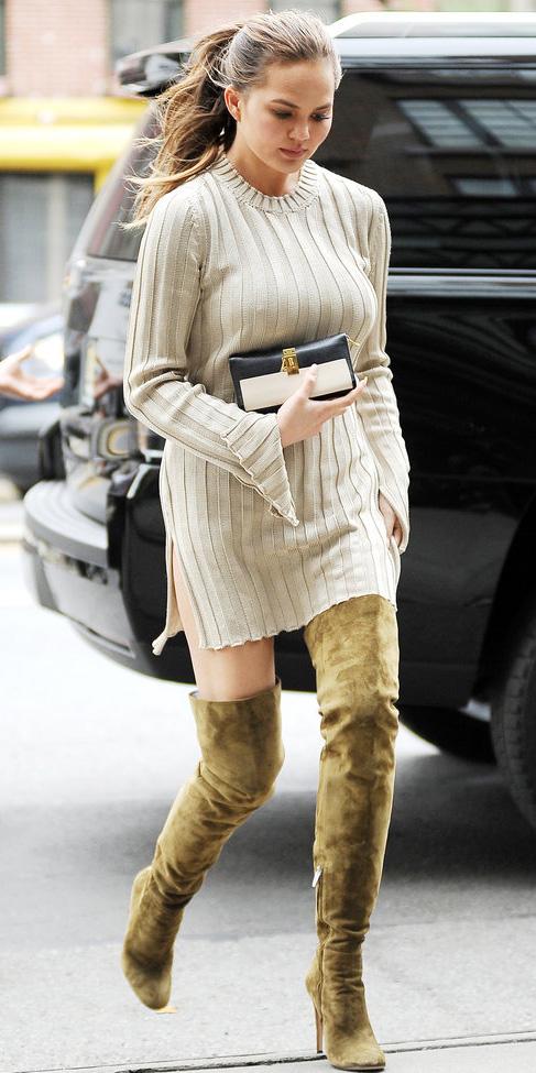 white-dress-sweater-chrissyteigen-otk-boots-pony-fall-winter-hairr-lunch.jpg