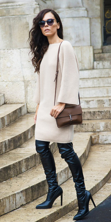 white-dress-sweater-black-shoe-boots-otk-sun-brown-bag-fall-winter-brun-lunch.jpg