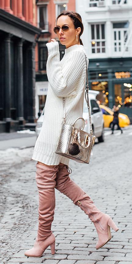 white-dress-sweater-pink-shoe-boots-pony-tan-bag-gold-otk-fall-winter-hairr-lunch.jpg