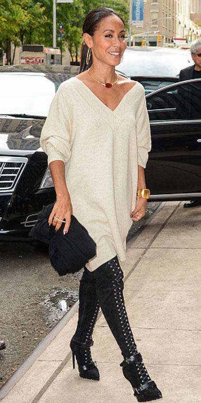 white-dress-sweater-jadapinkettsmith-black-shoe-boots-necklace-hoops-pony-fall-winter-brun-dinner.jpg