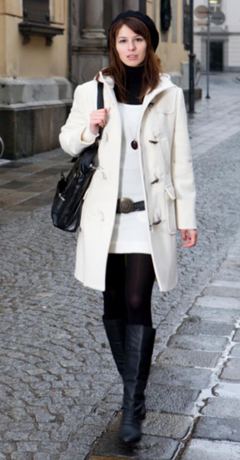 white-dress-white-jacket-coat-belt-beanie-black-shoe-boots-black-tights-black-sweater-turtleneck-layer-black-bag-sweater-wear-style-fashion-fall-winter-brunette-lunch.jpg