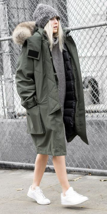 grayl-dress-sweater-beanie-white-shoe-sneakers-blonde-green-olive-jacket-coat-parka-fall-winter-outfit-weekend.jpg