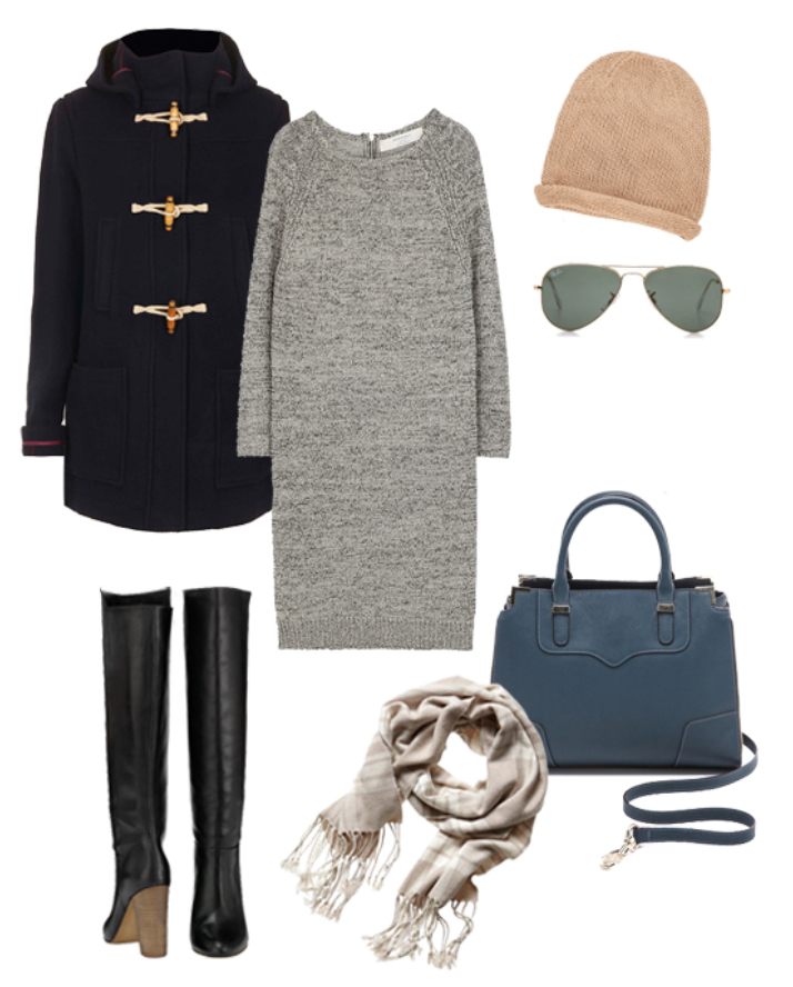 grayl-dress-black-jacket-coat-black-shoe-boots-white-scarf-beanie-sun-blue-bag-sweater-wear-style-fashion-fall-winter-toggle-lunch.jpg