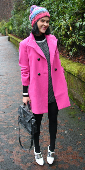 how-to-style-pink-magenta-jacket-coat-beanie-brun-white-shoe-pumps-black-bag-grayd-dress-sweater-black-tights-layer-fall-winter-fashion-lunch.jpeg