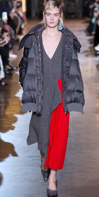grayd-dress-midi-sweater-gray-shoe-pumps-grayd-jacket-coat-puffer-fall-winter-blonde-dinner.jpg