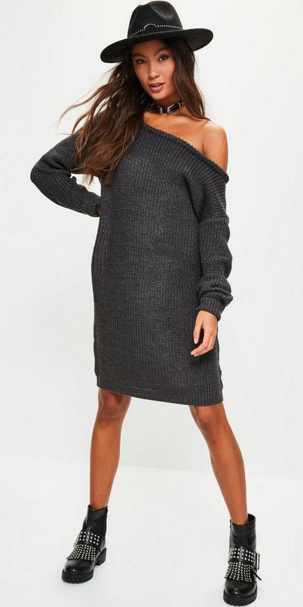 grayd-dress-sweater-hat-choker-black-shoe-booties-fall-winter-brun-weekend.jpg