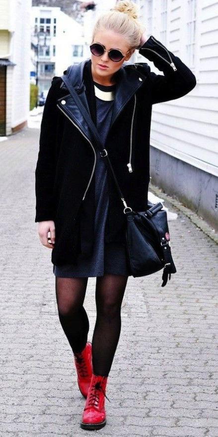grayd-dress-tshirt-sweater-black-bag-black-tights-red-shoe-booties-drmartens-bun-sun-black-jacket-moto-fall-winter-blonde-weekend.jpg