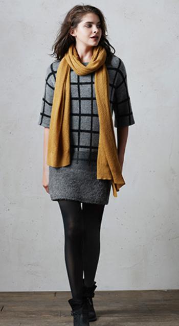 grayd-dress-zprint-windowpane-black-shoe-booties-black-tights-yellow-scarf-sweater-wear-style-fashion-fall-winter-scarf-redhair-lunch.jpg