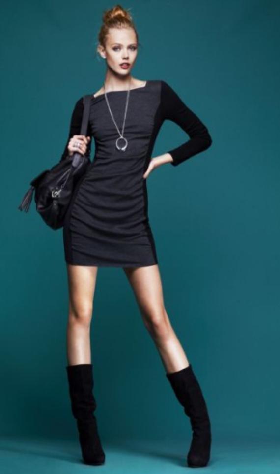 grayd-dress-black-shoe-booties-black-bag-bun-sweater-wear-style-fashion-fall-winter-pendant-mini-necklace-blonde-lunch.jpg