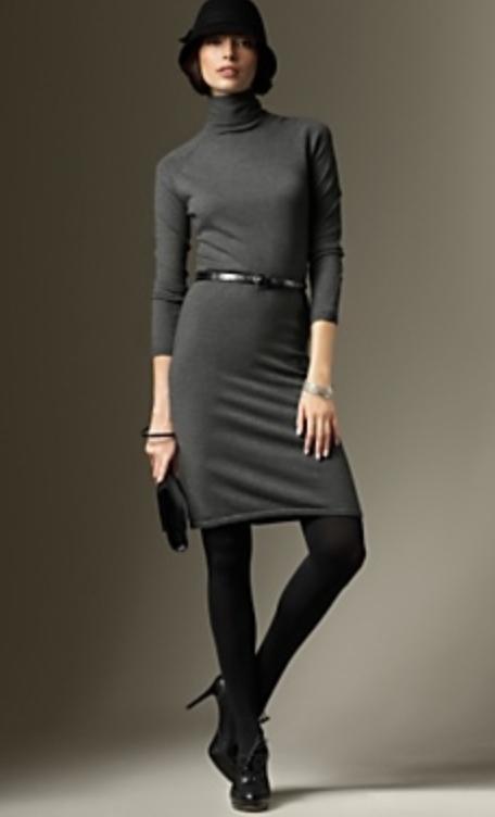 grayd-dress-black-shoe-booties-black-bag-clutch-hat-sweater-wear-style-fashion-fall-winter-black-tights-turtleneck-brunette-work.jpg