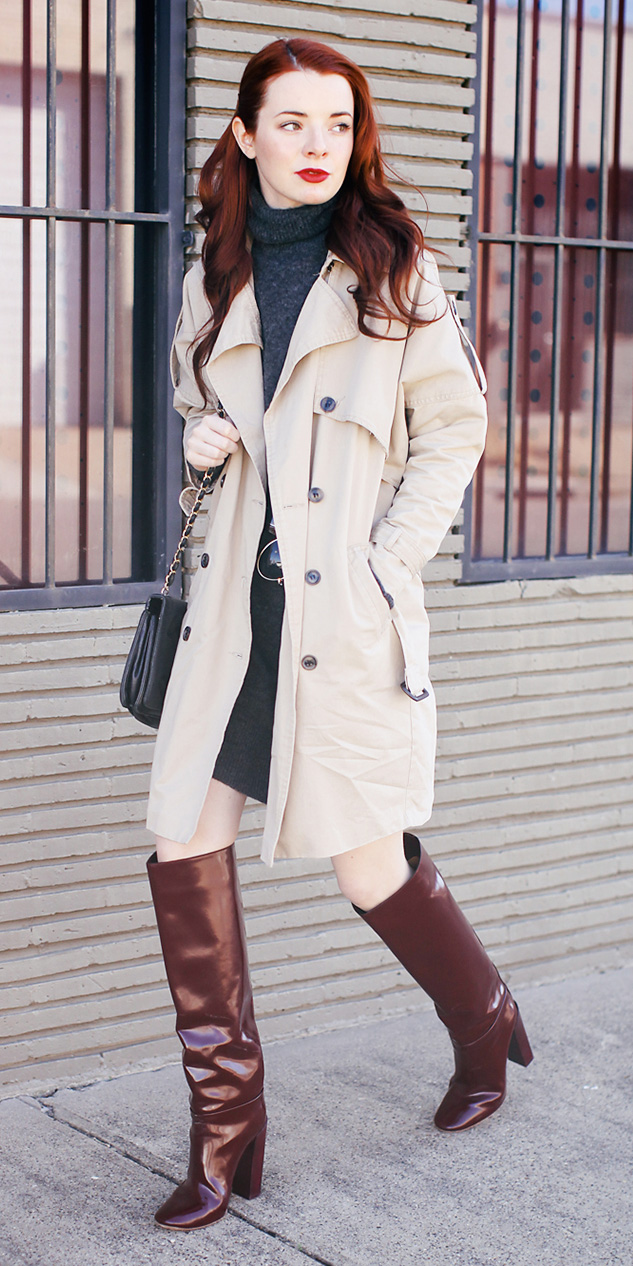 grayd-dress-sweater-hairr-brown-shoe-boots-tan-jacket-coat-trench-fall-winter-lunch.jpg