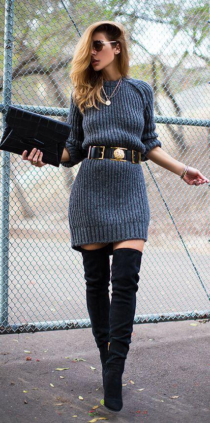 grayd-dress-sweater-belt-black-shoe-boots-otk-necklace-black-bag-clutch-sun-fall-winter-hairr-dinner.jpg