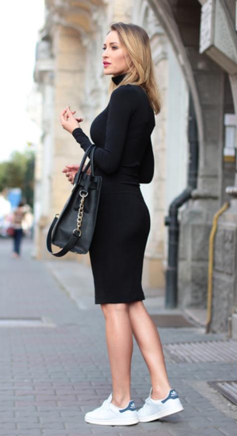 black-dress-a-sweater-white-shoe-sneakers-wear-style-fashion-spring-summer-black-bag-turtleneck-blonde-lunch.jpg