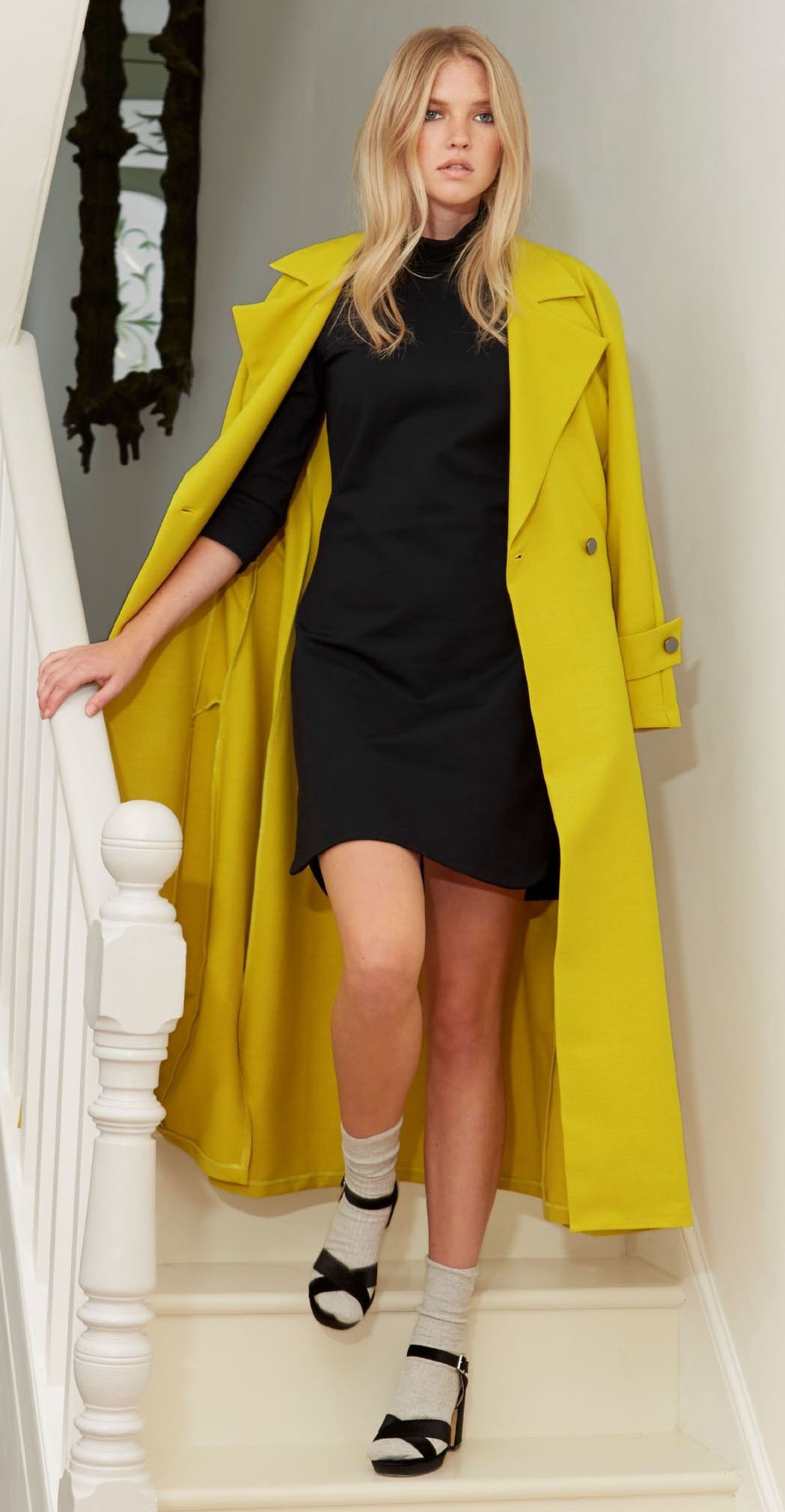 black-dress-sweater-mini-socks-black-shoe-sandalh-blonde-yellow-jacket-coat-trench-fall-winter-lunch.jpg