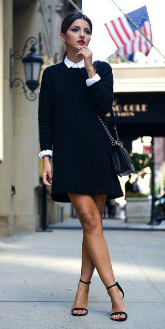black-dress-sweater-white-collared-shirt-pony-black-bag-black-shoe-sandalh-fall-winter-hairr-work.jpg