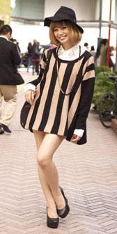 black-dress-zprint-stripe-white-collared-shirt-black-shoe-pumps-hat-necklace-sweater-wear-style-fashion-fall-winter-japan-hairr-lunch.jpg
