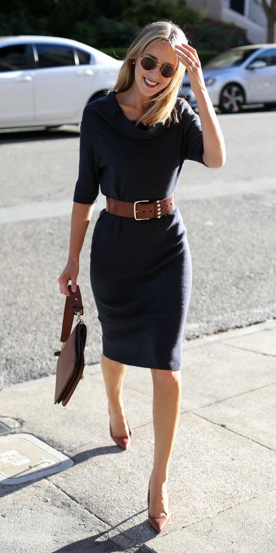 black-dress-sweater-belt-cognac-bag-cognac-shoe-pumps-sun-fall-winter-blonde-work.jpg