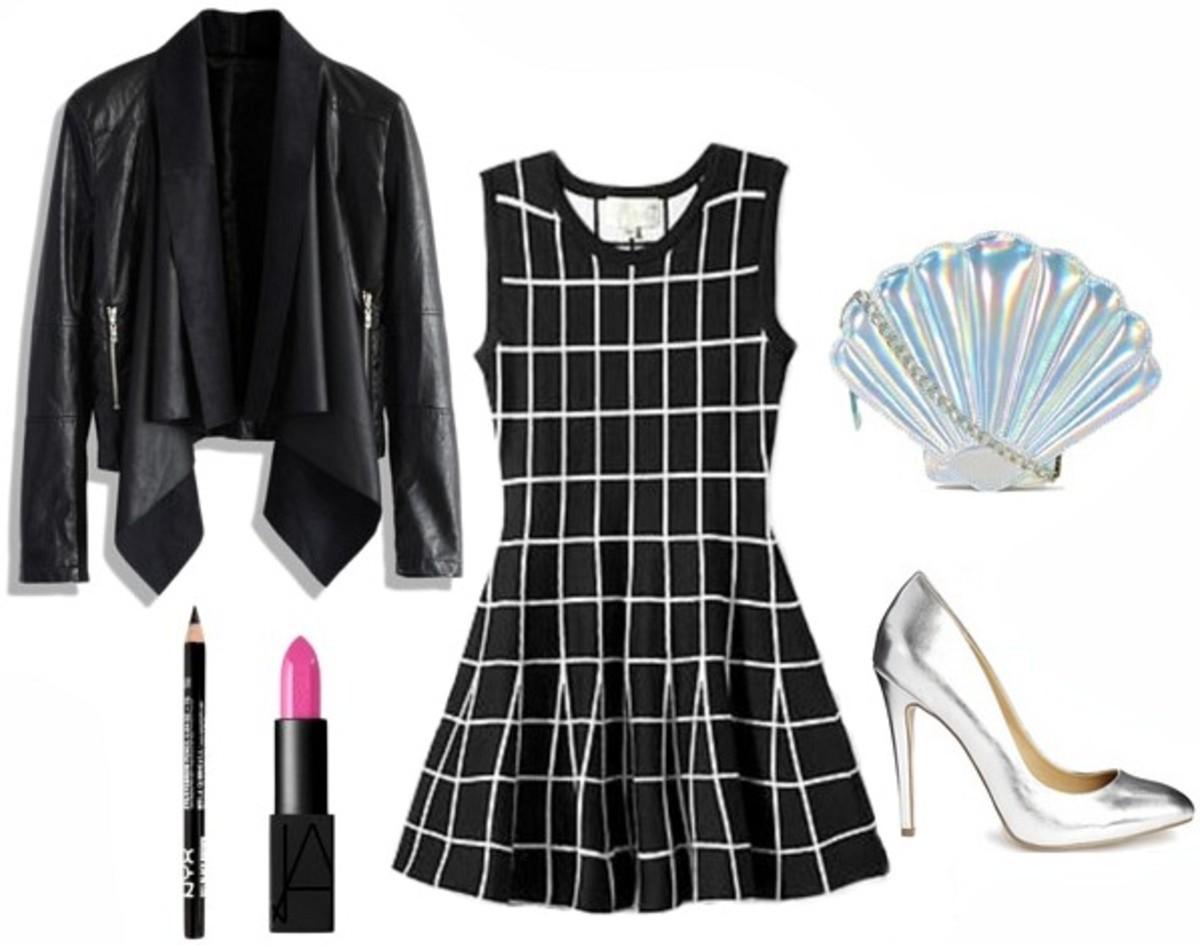 black-dress-print-mini-black-jacket-moto-gray-shoe-pumps-blue-bag-sweater-howtowear-fashion-style-outfit-spring-summer-dinner.jpg