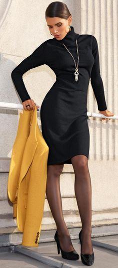 black-dress-yellow-jacket-blazer-black-shoe-pumps-howtowear-fashion-style-outfit-fall-winter-turtleneck-sweater-black-tights-necklace-pend-brunette-work.jpg