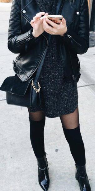 black-dress-sweater-black-tights-socks-black-shoe-booties-mono-black-bag-black-jacket-moto-fall-winter-lunch.jpg
