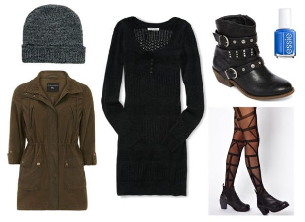 black-dress-green-olive-jacket-utility-black-shoe-booties-black-tights-graphic-howtowear-fashion-style-outfit-fall-winter-sweater-beanie-nail-weekend.jpg