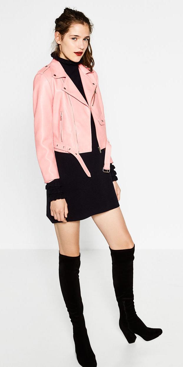 black-dress-sweater-mini-pony-black-shoe-boots-otk-pink-light-jacket-moto-fall-winter-hairr-lunch.jpg