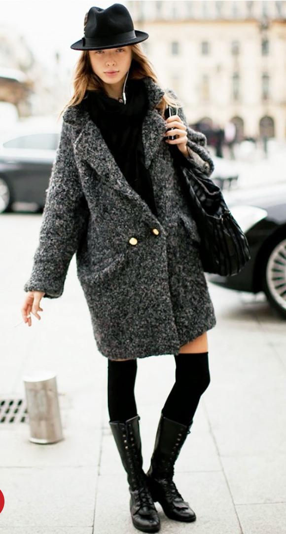 black-dress-grayd-jacket-coatigan-hat-black-shoe-boots-black-bag-sweater-wear-style-fashion-fall-winter-knee-socks-street-hairr-weekend.jpg